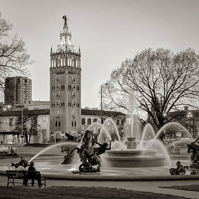 Photograph - J.c. Nichols Memorial Fountain In The Plaza - Kansas City Sepia Square Format by Gregory Ballos