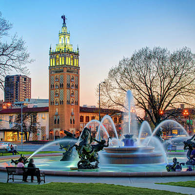 Photograph - J.c. Nichols Memorial Fountain In The Plaza - Kansas City Square Format by Gregory Ballos