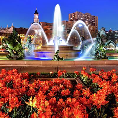 Photograph -  J.c. Nichols Memorial Fountain - Kansas City Mo - Square by Gregory Ballos