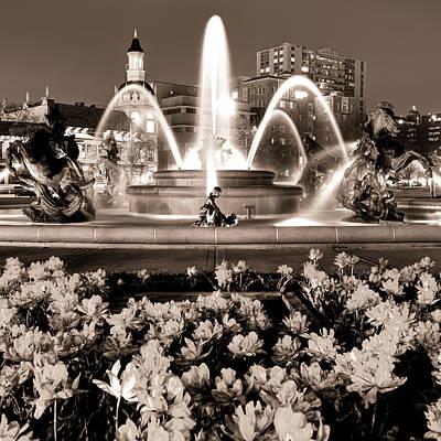 Photograph -  J.c. Nichols Memorial Fountain - Sepia - Kansas City Mo - Square by Gregory Ballos