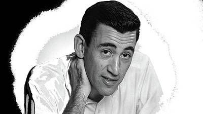 Comic Character Paintings - J.D.Salinger circa 1950 color added 2015 by David Lee Guss