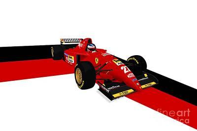 Racecar Drawing - Jean Alesi - Ferrari 412t2 by Jeremy Owen