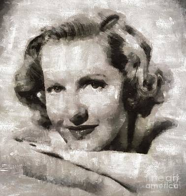 Elvis Presley Painting - Jean Arthur, Hollywood Actress by Mary Bassett