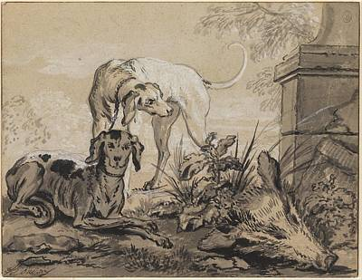 Jean-baptiste After The Hunt- Two Hounds Beside A Boar's Art Print