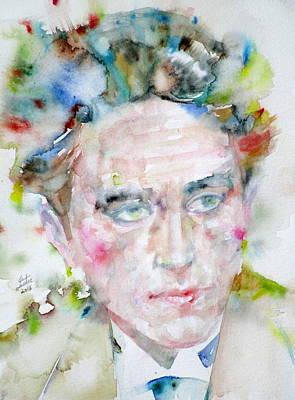 Jean Cocteau Painting - Jean Cocteau - Watercolor Portrait.3 by Fabrizio Cassetta