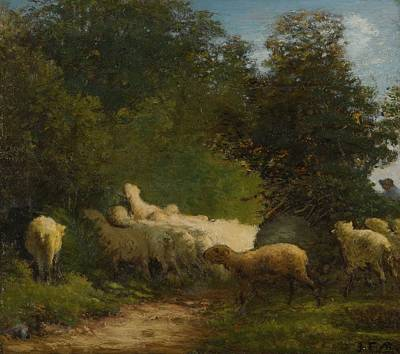 Ceramics Painting - Jean-francois Millet 1814 - 1875   Sheep Grazing Along A Hedgerow by Artistic Rifki