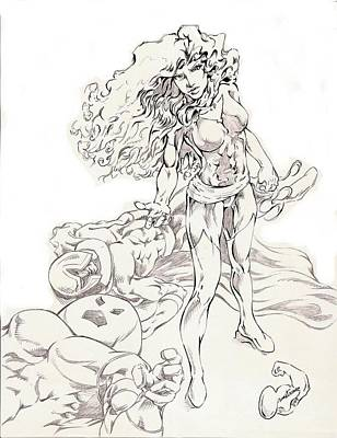 Jean Grey Drawing - Jean Grey by Eric Armstrong