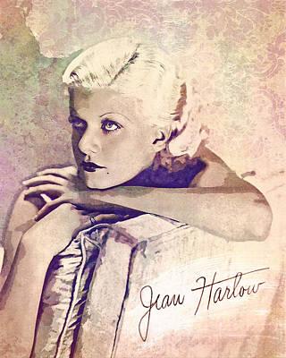 Digital Art - Jean Harlow - Autograph by Darlanne
