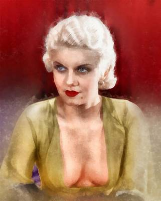 Pussy Painting - Jean Harlow By Frank Falcon by Frank Falcon