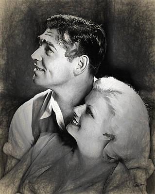 Jean Harlow - Clark Gable Art Print by Quim Abella