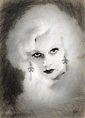 Jean Harlow Drawing Art Print by Quim Abella