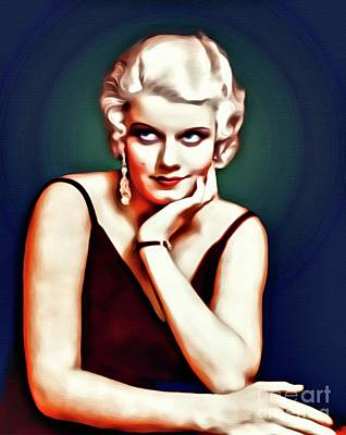 Jean Harlow, Hollywood Legend, Digital Art By Mary Bassett Art Print by Mary Bassett