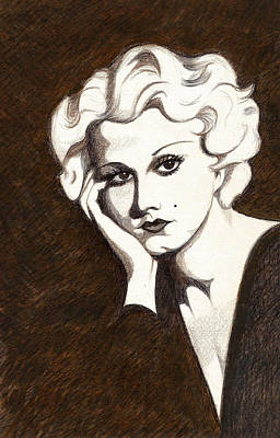 Sepia Ink Drawing - Harlow By Hutton by Tara Hutton