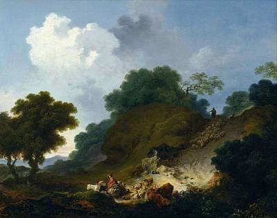 Sky Painting - Jean-honore Fragonard - Landscape With Shepherds And Flock Of Sheep - Circa 1763-1765 by Jean-Honore Fragonard