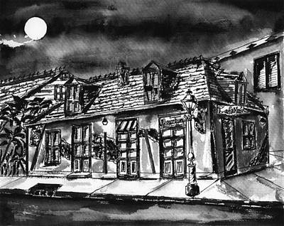 Painting - Jean Lafitte Blacksmith Shop Pen And Ink by Catherine Wilson