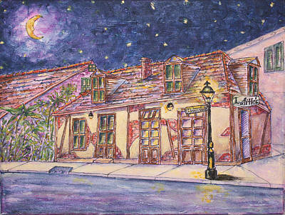 Painting - Jean Lafitte's Balcksmith Shop At Night by Catherine Wilson