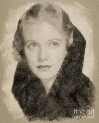 Musicians Drawings - Jean Muir, Vintage Actress by John Springfield by John Springfield