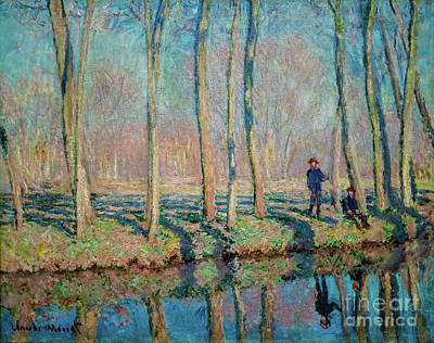 Painting - Jean Pierre Hoschede And Michel Monet On The Bank Of The Epte by Claude Monet