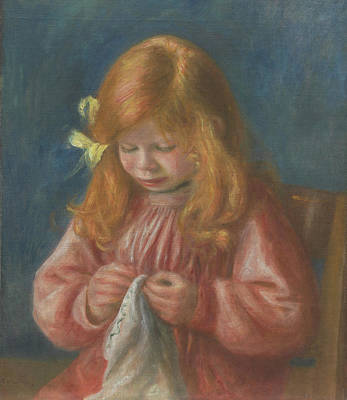 Embroidered Painting - Jean Renoir Sewing by Pierre Auguste Renoir