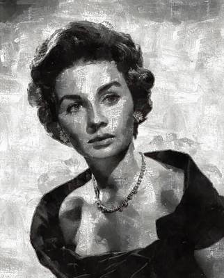 Popstar And Musician Paintings Royalty Free Images - Jean Simmons by Mary Bassett Royalty-Free Image by Esoterica Art Agency