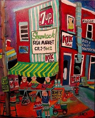 Montreal Chips Painting - Jean Talon Market Shamrock Fish by Michael Litvack
