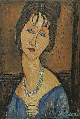 Hebuterne Painting - Jeanne Hebuterne. Au Collier by Amedeo Modigliani