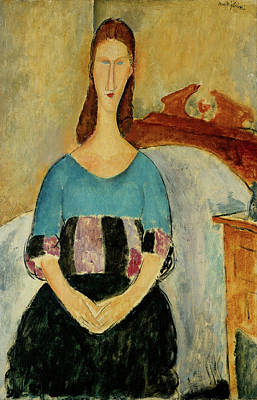 Hebuterne Painting - Jeanne Hebuterne Seated Amedeo Modigliani 1918 by Movie Poster Prints