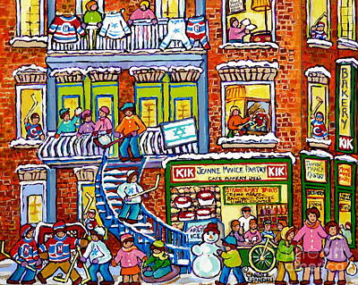Kik Cola Painting - Jeanne Mance Bakery Green Doors 4 Plex Montreal Winter Balconies Snowy Staircase Hockey Art Scenes by Carole Spandau