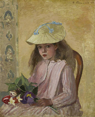 Pissarro Painting - Jeanne Pissarro, Called Minette, With A Bouquet by Camille Pissarro