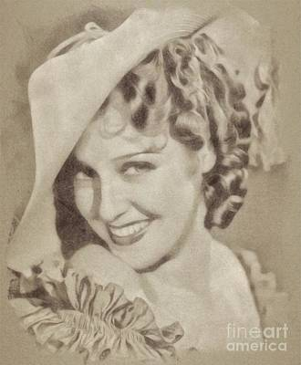 Musicians Drawings - Jeannette MacDonald, Vintage Actress by John Springfield by Esoterica Art Agency