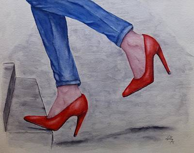 Painting - Jeans And Red Heels by Kelly Mills