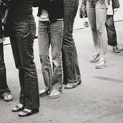 Jeans Photograph - Jeans And Sandals Black And White- Photography By Linda Woods by Linda Woods