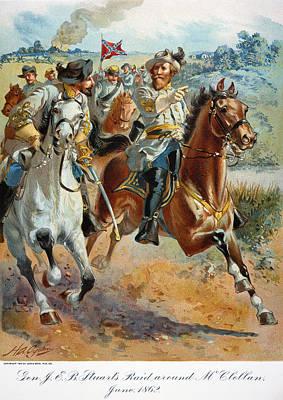 Jeb Stuarts Cavalry 1862 Print by Granger