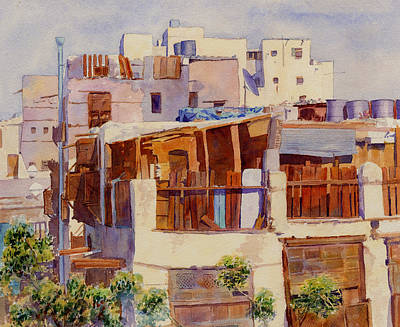 Souq Painting - Jeddah Rooftops by Dorothy Boyer