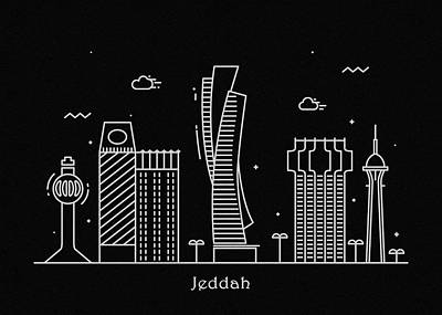 Abstract Landscape Drawing - Jeddah Skyline Travel Poster by Inspirowl Design