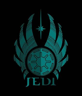 Jedi Symbol - Star Wars Art, Blue Art Print
