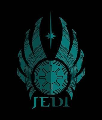 Movie Star Mixed Media - Jedi Symbol - Star Wars Art, Blue by Studio Grafiikka