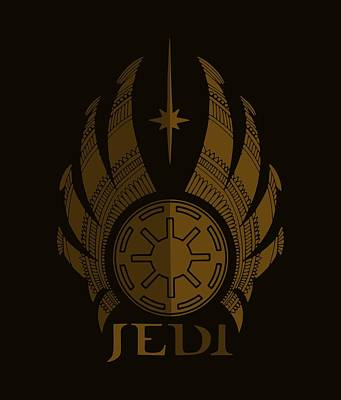Star Wars Mixed Media - Jedi Symbol - Star Wars Art, Brown by Studio Grafiikka