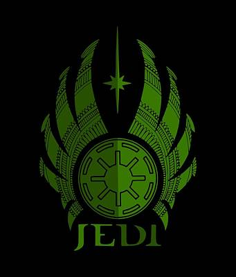 Movie Star Mixed Media - Jedi Symbol - Star Wars Art, Green by Studio Grafiikka