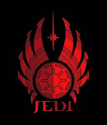 Scifi Mixed Media - Jedi Symbol - Star Wars Art, Red by Studio Grafiikka