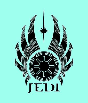 Royalty-Free and Rights-Managed Images - Jedi Symbol - Star Wars Art, Teal by Studio Grafiikka