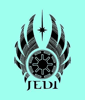 Movie Star Mixed Media - Jedi Symbol - Star Wars Art, Teal by Studio Grafiikka