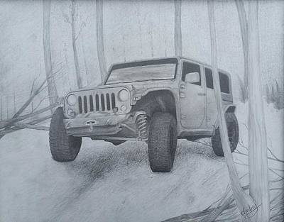 Jeep Drawing - Jeep Adventure  by Amberly Clemons