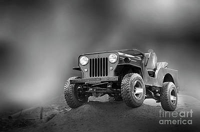 Art Print featuring the photograph Jeep Bw by Charuhas Images