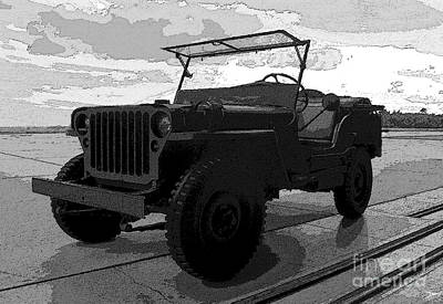 Black And White Horses Digital Art - Jeep by David Lee Thompson