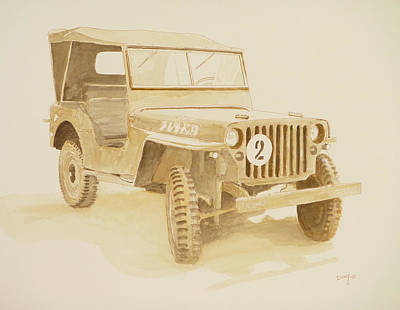 Watercolor And Pen Mixed Media - Jeep In Sepia by David Godbolt