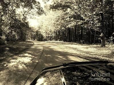 Asphalt Digital Art - Jeep Ride Through The Country - Sepia by Scott D Van Osdol