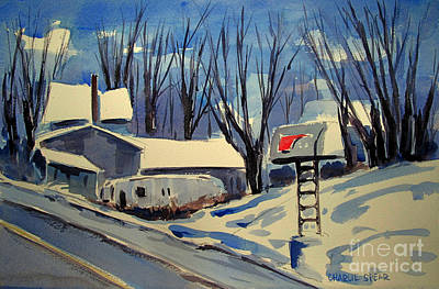 Snowscape Painting - Jeep Route Matted by Charlie Spear