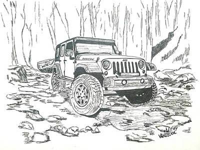Light Paint Drawing - Jeep Rubicon Gel Pen Sketch by Scott D Van Osdol