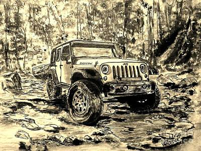 Jeep Rubicon - Watercolor Sepia Art Print